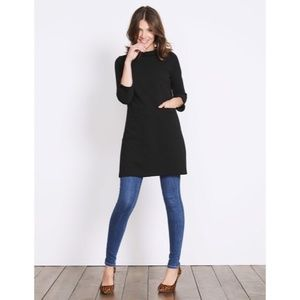Boden Black Jacquard Dress with Front Pockets